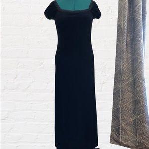 Black Velvet Short Sleeve Maxi Dress Size 14